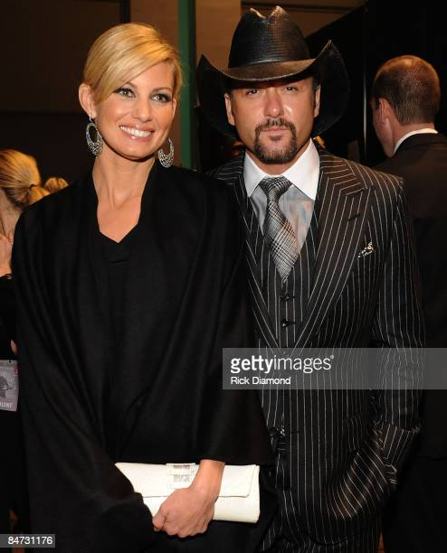 Singer Faith Hill and musician Tim McGraw backstage at the 2009 MusiCares Person of the Year Tribute to Neil Diamond at the Los Angeles Convention...