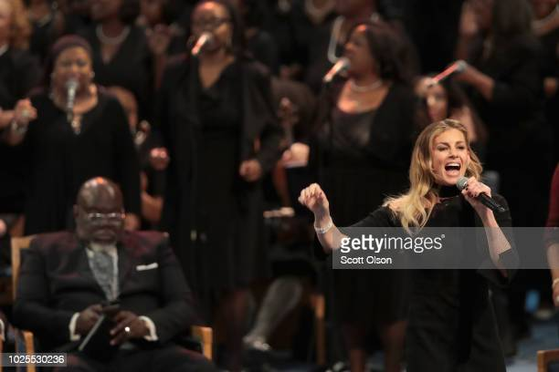 Singer Faith Hill performs at the funeral for Aretha Franklin at the Greater Grace Temple on August 31 2018 in Detroit Michigan Franklin died at the...