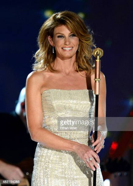 Singer Faith Hill performs onstage during the 49th Annual Academy of Country Music Awards at the MGM Grand Garden Arena on April 6 2014 in Las Vegas...