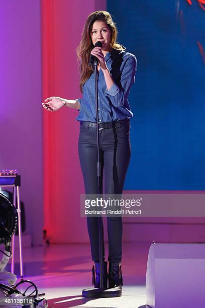 Singer Fanny Leeb daughter of Michel Leeb performs and presents her album 'Arrow' during the 'Vivement Dimanche' French TV Show at Pavillon Gabriel...
