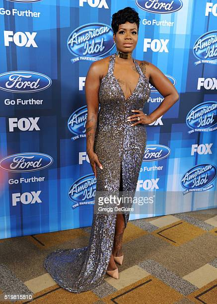 Singer Fantasia Barrino arrives at FOX's American Idol Finale For The Farewell Season at Dolby Theatre on April 7 2016 in Hollywood California