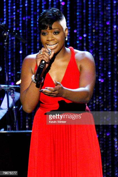 Singer Fantasia Barrino performs onstage during the 2008 MusiCares person of the year honoring Aretha Franklin held at the Los Angeles Convention...