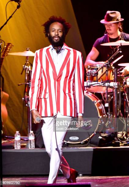 Singer Fantastic Negrito appears onstage as a special guest during the 2018 Celebrating David Bowie tour stop at The Wiltern on February 28 2018 in...