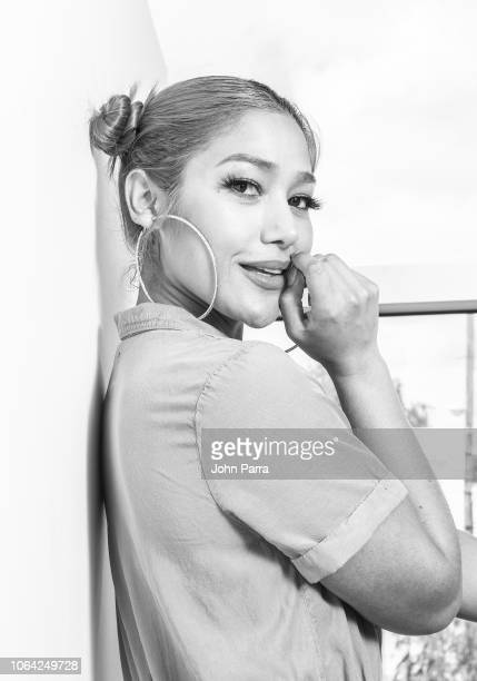 Image has been converted to black and white Singer Farina poses for a portrait during her new single release 'Lunes a Jueves' on November 2 2018 in...