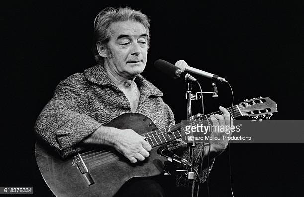 Singer Felix Leclerc performs at the Theatre du Montparnasse in Paris
