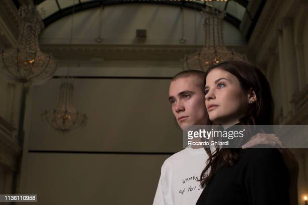 Singer Felix Sandman and actress Hanna Ardéhn poses for a portrait during the 69th Berlinale International Film Festival on February 8 2019 in Berlin...
