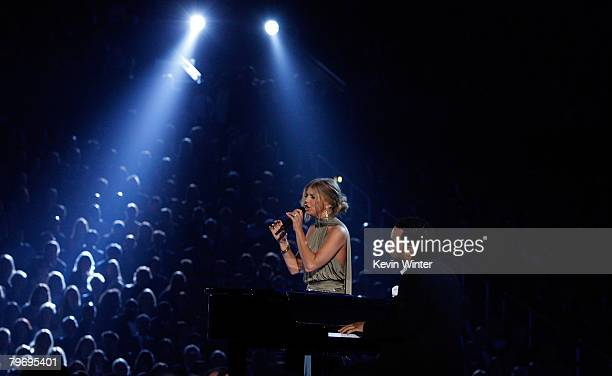 Singer Fergie and John Legend perform onstage during the 50th annual Grammy awards held at the Staples Center on February 10 2008 in Los Angeles...