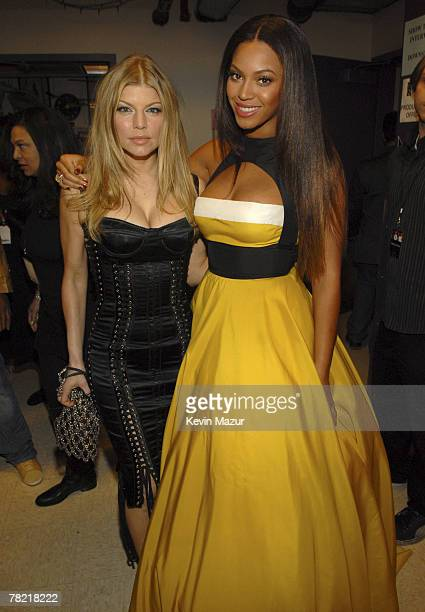 Singer Fergie and Singer Beyonce backstage at Conde Nast Media Group presents Movies Rock at the Kodak Theater on December 2 2007 in Los Angeles