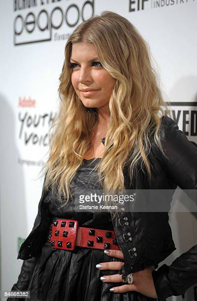 Singer Fergie arrives at the Black Eyed Peas Peapod Foundation benefit concert presented by Adobe Youth Voices inside the Conga Room at the Nokia...