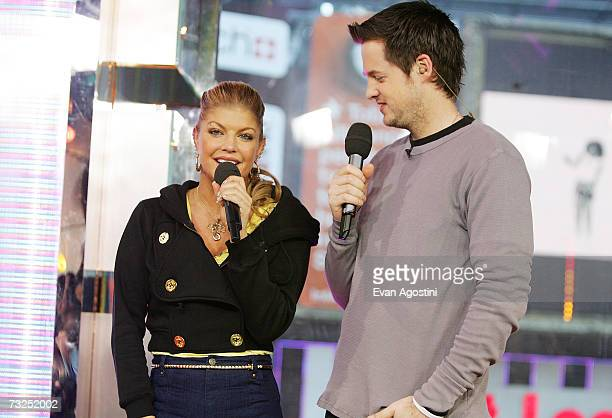 Singer Fergie chats with VJ Damien Fahey during an appearance on MTV's Total Request Live February 07 2007 in New York City