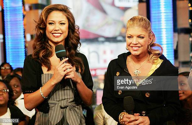 Singer Fergie chats with VJ Vanessa Minnillo during an appearance on MTV's Total Request Live February 07 2007 in New York City