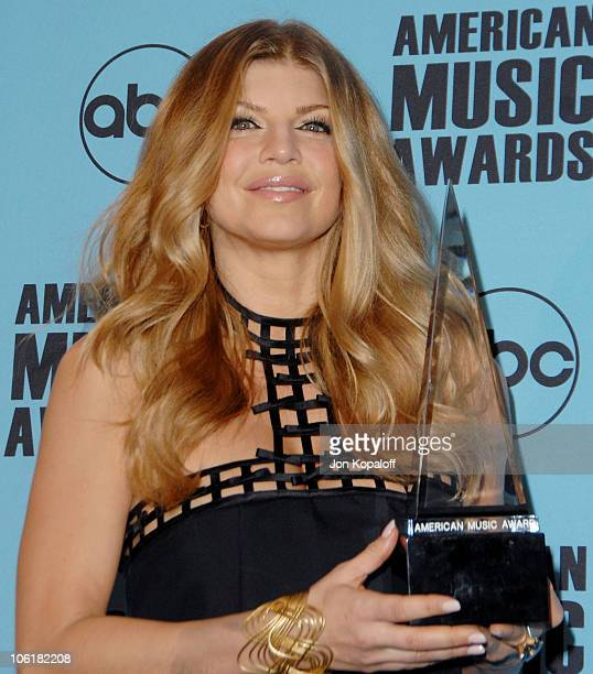 Singer Fergie in the press room at the 2007 American Music Awards at the Nokia Theatre on November 18 2007 in Los Angeles California