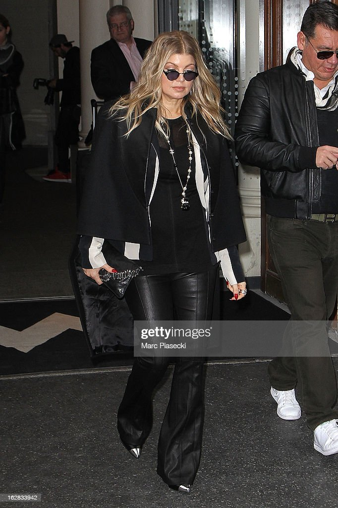 Singer Fergie is sighted leaving her hotel on February 28, 2013 in Paris, France.