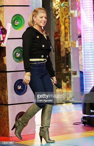 Singer Fergie makes an appearance on MTV's Total Request Live February 07 2007 in New York City