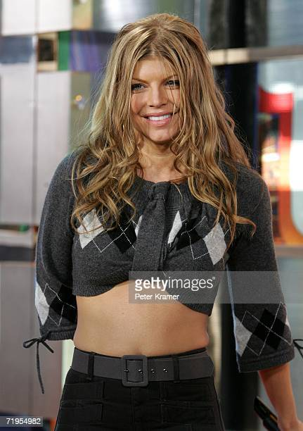 Singer Fergie makes an appearance on MTV's Total Request Live in Times Square on September 20 2006 in New York City
