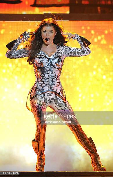 Singer Fergie of the Black Ayed Peas performs on stage at Palais Omnisports de Bercy on June 4, 2010 in Paris, France.
