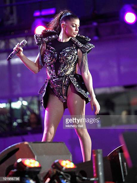 Singer Fergie of the Black Eyed Peas performs on stage during the FIFA World Cup Kick-off Celebration Concert at the Orlando Stadium on June 10, 2010...