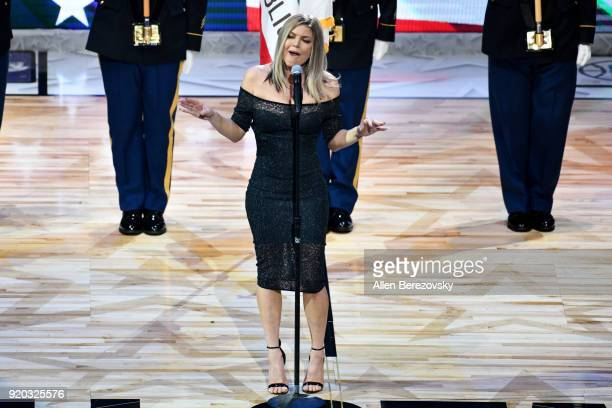 Singer Fergie sings the national anthem prior to The 67th NBA AllStar Game Team LeBron Vs Team Stephen at Staples Center on February 18 2018 in Los...
