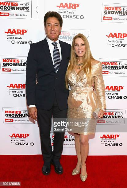 Singer Fernando Allende and Mari Mediavilla attend AARP's Movie For GrownUps Awards at the Beverly Wilshire Four Seasons Hotel on February 8 2016 in...