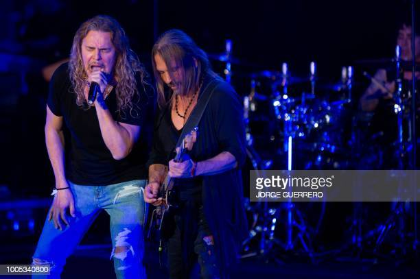 Singer Fher Olvera and guitarist Sergio Vallin of Mexican rock band Mana perform during a concert at the Starlite Music Festival in Marbella on July...