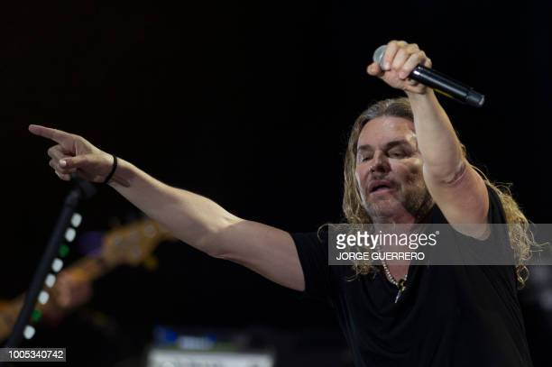 Singer Fher Olvera of Mexican rock band Mana performs during a concert at the Starlite Music Festival in Marbella on July 25 2018