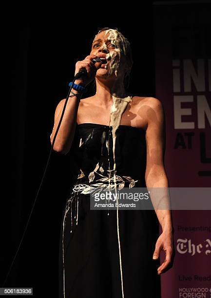 Singer Fiona Apple performs onstage at the Film Independent Live Read of Dr Strangelove with guest director Mark Romanek at the Bing Theatre at LACMA...