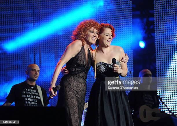 Singer Fiorella Mannoia and Noemi perform live during 2012 Wind Music Awards held at Arena of Verona on May 26 2012 in Verona Italy