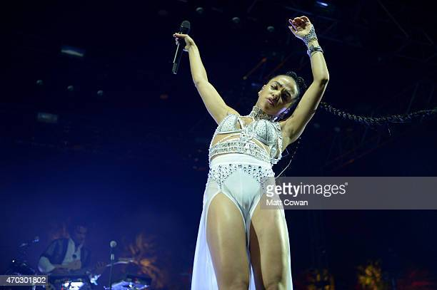 Singer FKA twigs performs onstage during day 2 of the 2015 Coachella Valley Music And Arts Festival at The Empire Polo Club on April 18 2015 in Indio...