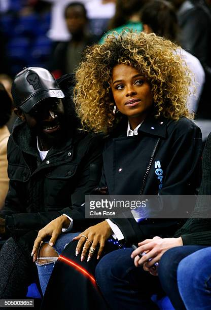 Singer Fleur East attends the 2016 NBA Global Games London match between Toronto Raptors and Orlando Magic at The O2 Arena on January 14 2016 in...