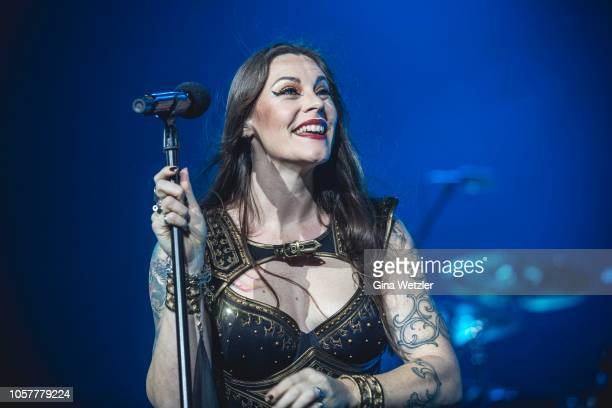 Singer Floor Jansen of the Fininsh band Nightwish performs live on stage during a concert at Max Schmeling Halle on November 5, 2018 in Berlin,...