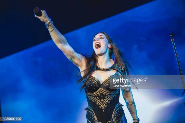 Singer Floor Jansen of the Fininsh band Nightwish performs live on stage during a concert at on November 9, 2018 in Oberhausen, Germany.