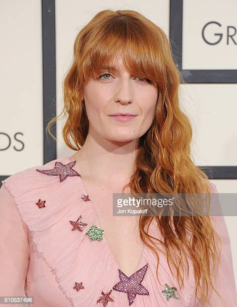 Singer Florence Welch arrives at The 58th GRAMMY Awards at Staples Center on February 15 2016 in Los Angeles California