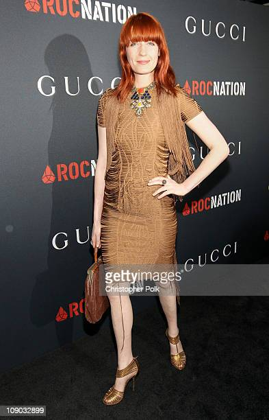 Singer Florence Welch arrives at the Gucci and RocNation PreGRAMMY brunch held at Soho House on February 12 2011 in West Hollywood California