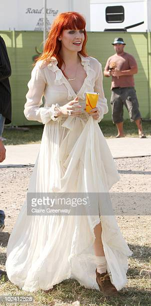 Singer Florence Welch is seen backstage at Glastonbury Festival at Worthy Farm Pilton on June 25 2010 in Glastonbury England This year sees the 40th...