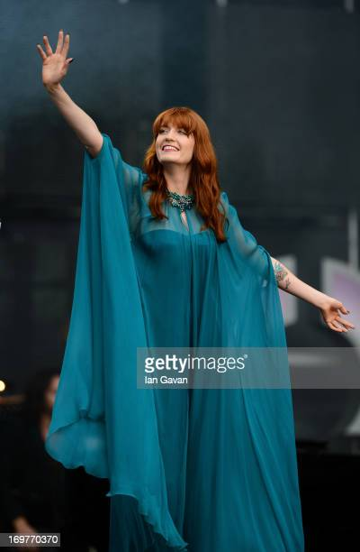 Singer Florence Welch of Florence and the Machine performs on stage at the Chime For Change The Sound Of Change Live Concert at Twickenham Stadium on...