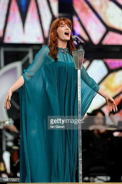 Singer Florence Welch of Florence and the Machine performs on stage at the 'Chime For Change The Sound Of Change Live' Concert at Twickenham Stadium...