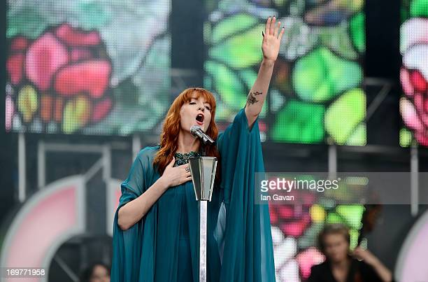 """Singer Florence Welch of Florence and the Machine performs on stage at the """"Chime For Change: The Sound Of Change Live"""" Concert at Twickenham Stadium..."""