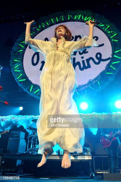 Singer Florence Welch of Florence and the Machine performs onstage at 2010 KROQ Almost Acoustic Christmas held at Gibson Amphitheatre on December 12,...