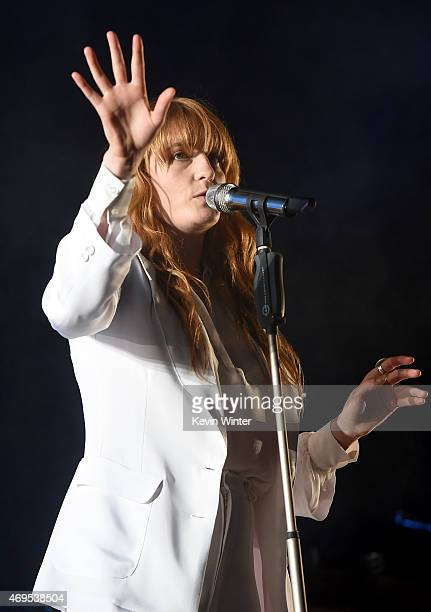 Singer Florence Welch of Florence and the Machine performs onstage during day 3 of the 2015 Coachella Valley Music & Arts Festival at the Empire Polo...