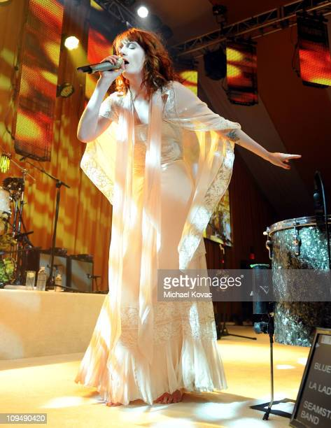 Singer Florence Welch of the musical group Florence and The Machine performs onstage at the 19th Annual Elton John AIDS Foundation Academy Awards...