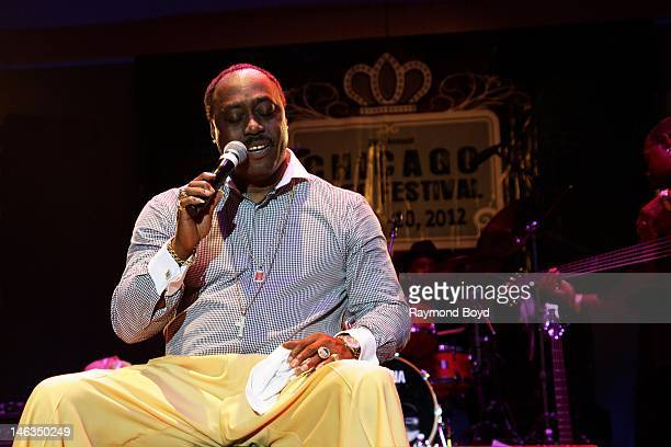 Singer Floyd Taylor son of late singer Johnnie Taylor performs at the Petrillo Music Shell at the Chicago Blues Festival in Chicago Illinois on JUNE...