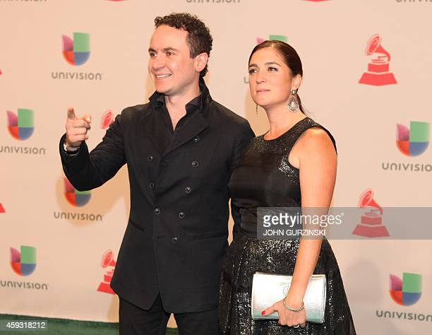 Singer Fonseca and his wife Juliana Posada arrive for the 15th Annual Latin Grammy Awards on November 20 in Las Vegas Nevada AFP PHOTO/JOHN GURZINSKI