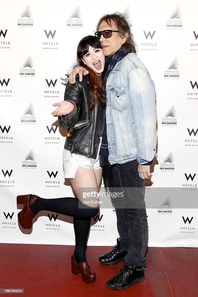 Singer Foxes and photographer Mick Rock attend W Hollywood Kicks Off IMS Engage With Symmetry at W Hollywood on April 16, 2013 in Hollywood, California.