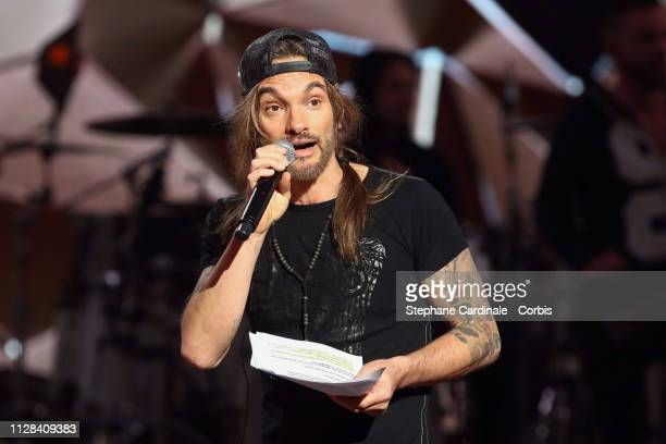 Singer Frah from Music band Shaka Ponk delivers a speech on stage the 34th 'Les Victoires De La Musique' Show at La Seine Musicale on February 08...