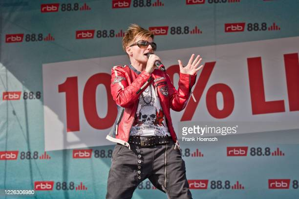Singer Franca Morgano of the German band Magic Affair performs live on a 90er Drive-In concert at exhibition ground on May 21, 2020 in Berlin,...