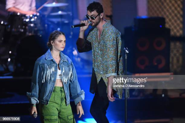 Singer Francesca Michielin and Carl Brave perform at Che Tempo Che Fa Tv Show on June 3 2018 in Milan Italy