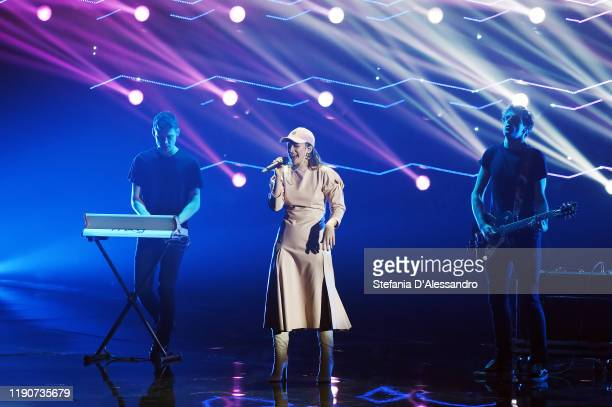 Singer Francesca Michielin attends the X Factor tv show 2019 on November 28 2019 in Milan Italy