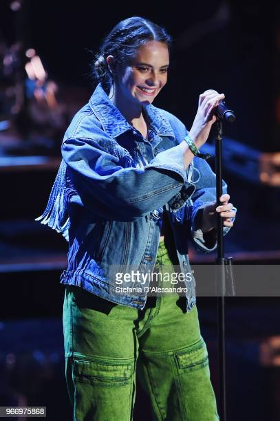 Singer Francesca Michielin performs at Che Tempo Che Fa Tv Show on June 3 2018 in Milan Italy