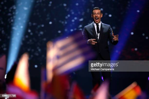 Singer Francesco Gabbani representing Italy is seen on during the final of the 62nd Eurovision Song Contest at International Exhibition Centre on May...