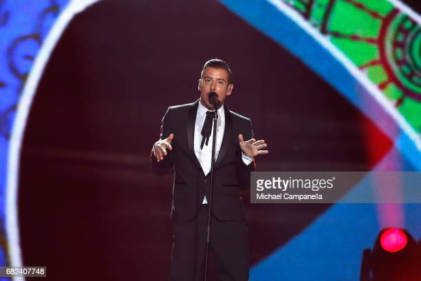 Singer Francesco Gabbani representing Italy performs the song 'Occidentali's Karma' during the rehearsal for ''The final of this year's Eurovision...